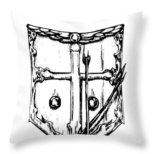 Shield Throw Pillow featuring the drawing Shield Of Faith by Maryn Crawford