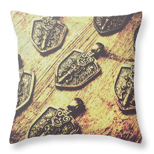 Shield Throw Pillow featuring the photograph Shields Of Knighthood by Jorgo Photography - Wall Art Gallery