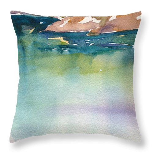 Shimmer Throw Pillow featuring the painting Shimmer Lake by Renee Chastant