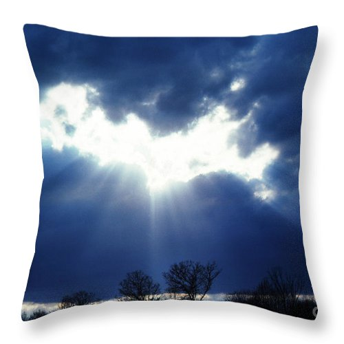 Sun Rays Breaking Through Clouds Throw Pillow featuring the photograph Shining Glory by Thomas R Fletcher