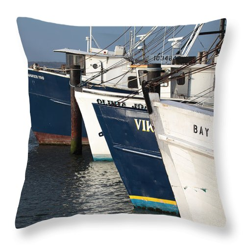 Fishing Boats Throw Pillow featuring the photograph Shinnecock Fleet by Steve Gravano