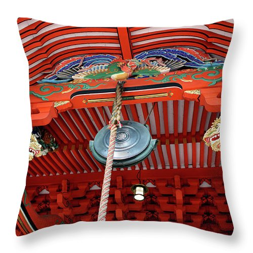 Shrine Throw Pillow featuring the photograph Shinto Shrine by Eena Bo