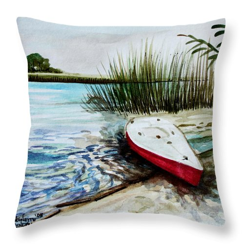 Landscape Throw Pillow featuring the painting Ship Ahoy by Elizabeth Robinette Tyndall