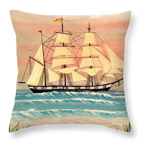 Ocean Throw Pillow featuring the painting Ship At Sea by Eileen Blair