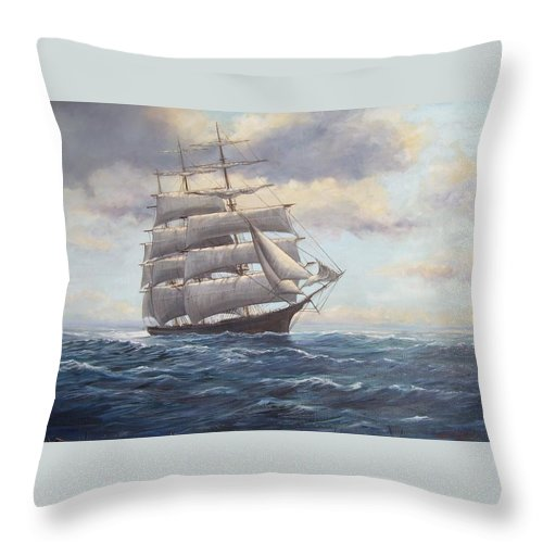 Square Rigger Throw Pillow featuring the painting Ship Coming Out Of Morning Fog by Perrys Fine Art