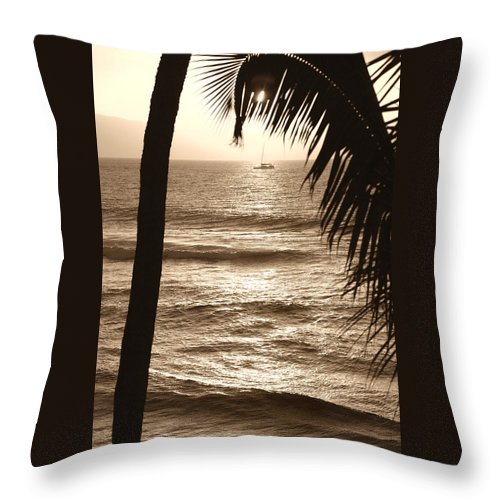 Hawaii Throw Pillow featuring the photograph Ship In Sunset by Marilyn Hunt