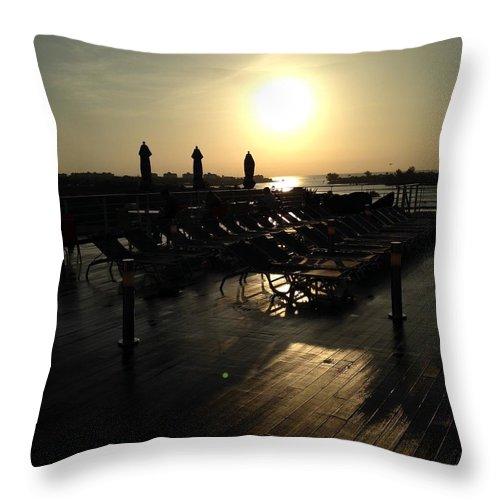 Ship Throw Pillow featuring the photograph Ship sunrise by Shari Chavira