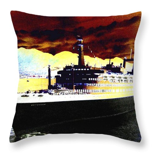 S S Rotterdam Throw Pillow featuring the digital art Shipshape 3 by Will Borden