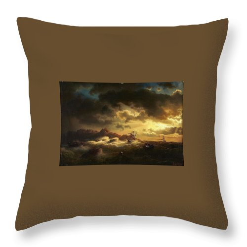 Marcus Larson 1825-1864 Shipwreck Throw Pillow featuring the painting Shipwreck by Marcus Larson