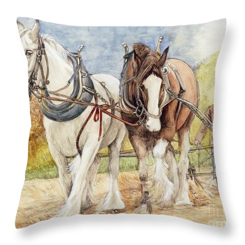 Shire Throw Pillow featuring the painting Shire Horses by Morgan Fitzsimons