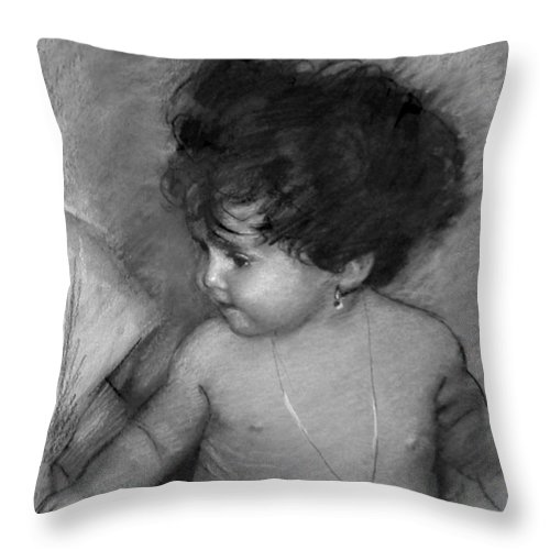 Baby Throw Pillow featuring the drawing Shirtless Baby by Ylli Haruni