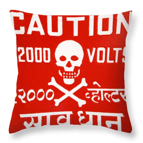 Caution Throw Pillow featuring the photograph Shocking by Imagery-at- Work