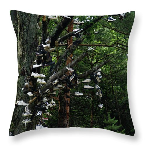 Amusement Throw Pillow featuring the photograph Shoe Tree by Linda Shafer