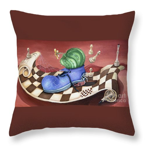 Shoe Throw Pillow featuring the painting Shoe by Yana Sadykova