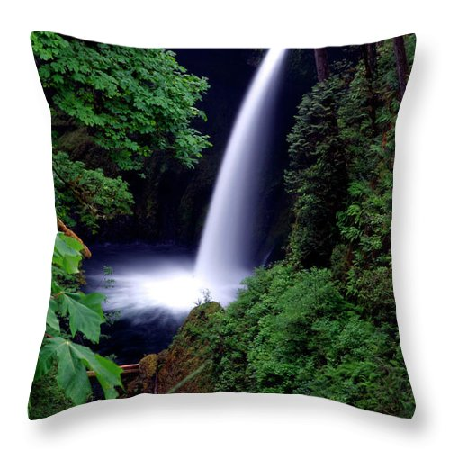 Oregon Throw Pillow featuring the photograph Shooting Falls by Scott Mahon