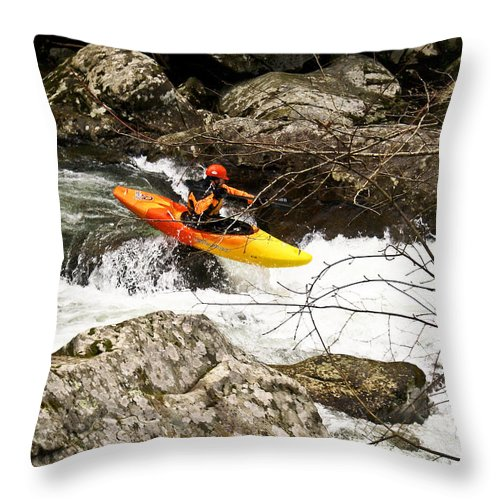 Rapids Throw Pillow featuring the photograph Shooting The Rapids by Douglas Barnett