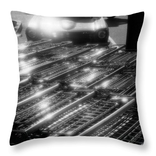 Black And White Throw Pillow featuring the photograph Shopping Carts by Lyle Crump