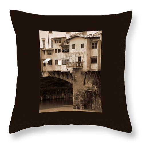 Shops Throw Pillow featuring the photograph Shops On The Ponte Vecchio by Donna Corless
