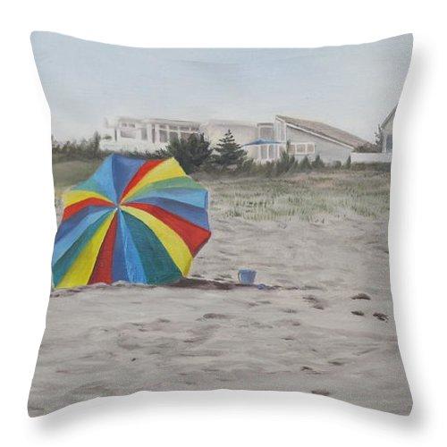 Beach Umbrella Throw Pillow featuring the painting Shore Dreams by Lea Novak