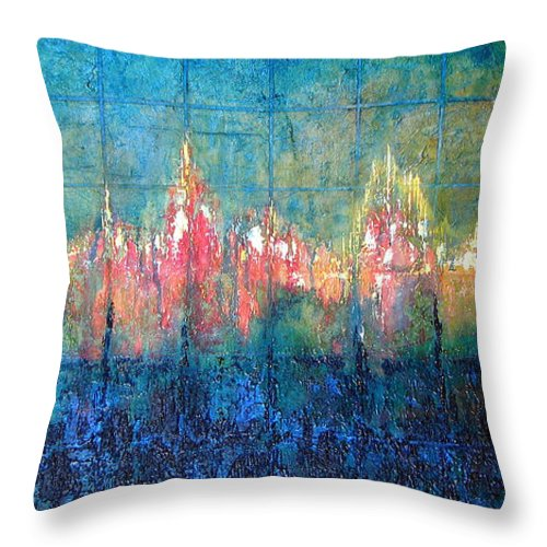 Seascape Throw Pillow featuring the painting Shorebound by Shadia Derbyshire