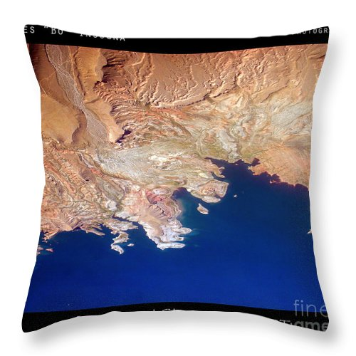 Abstract Throw Pillow featuring the photograph Shores Of Lake Mead Planet Art by James BO Insogna