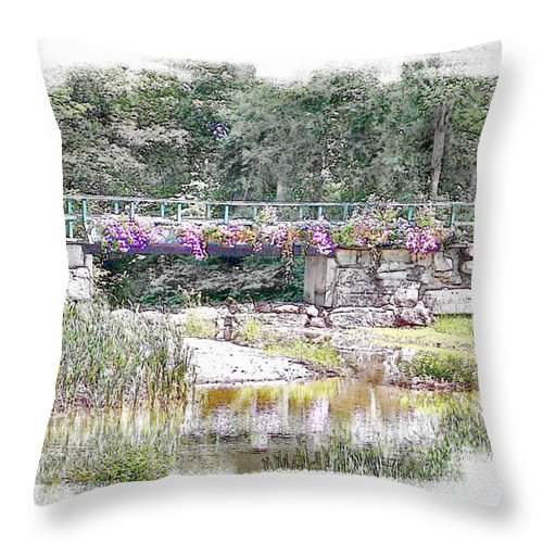 Water Throw Pillow featuring the photograph Shorey Park Bridge I by Rose Guay