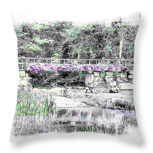 Black And White With Slight Color Enhancement Throw Pillow featuring the photograph Shorey Park Bridge II by Rose Guay