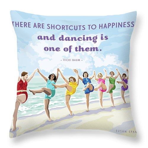 Beach House Throw Pillow featuring the digital art Shortcuts To Happiness by Susan Spangler