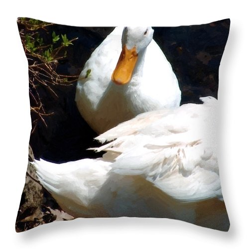 Duck Throw Pillow featuring the painting Should I by RC DeWinter
