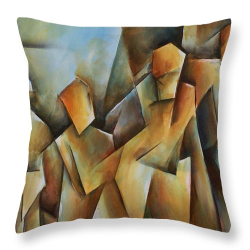 Contemporary Cubism Throw Pillow featuring the painting Show Me by Michael Lang