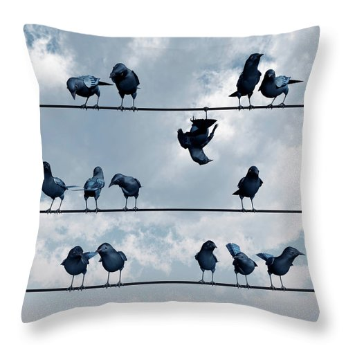 Crow Throw Pillow featuring the digital art Show Off by Cynthia Decker
