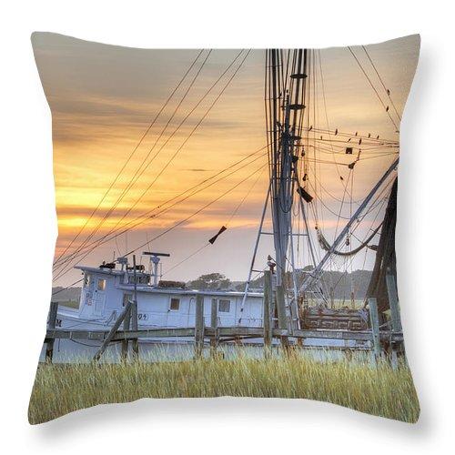 Shrimp Throw Pillow featuring the photograph Shrimp Boat Sunset Charleston Sc by Dustin K Ryan