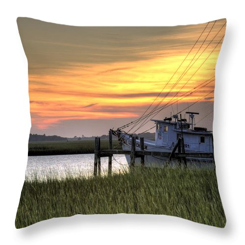 Shrimp Throw Pillow featuring the photograph Shrimp Boat Sunset by Dustin K Ryan