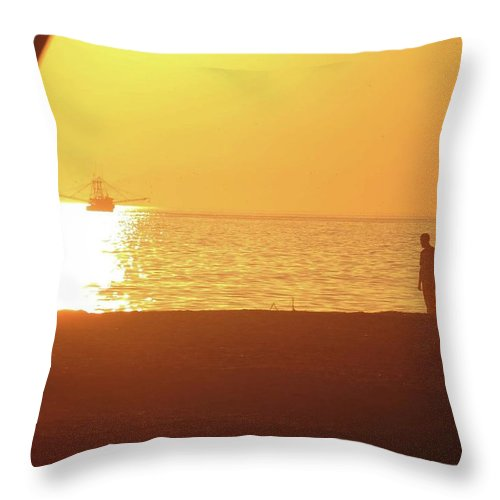 Throw Pillow featuring the photograph Shrimp Boats And Love by Becky Haines