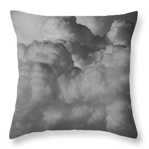Black And White Throw Pillow featuring the photograph Shrimp Clouds by Rob Hans