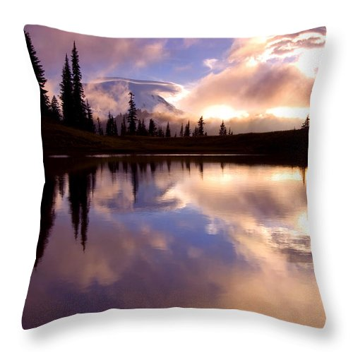 Rainier Throw Pillow featuring the photograph Shrouded In Clouds by Mike Dawson