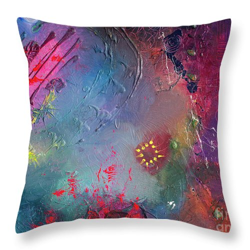 Throw Pillow featuring the painting Shuffle by Pink Plumbus