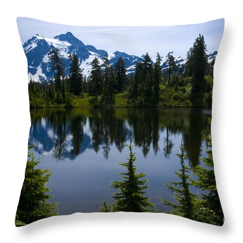 Mt. Shuksan Throw Pillow featuring the photograph Shuksan In Spring by Idaho Scenic Images Linda Lantzy