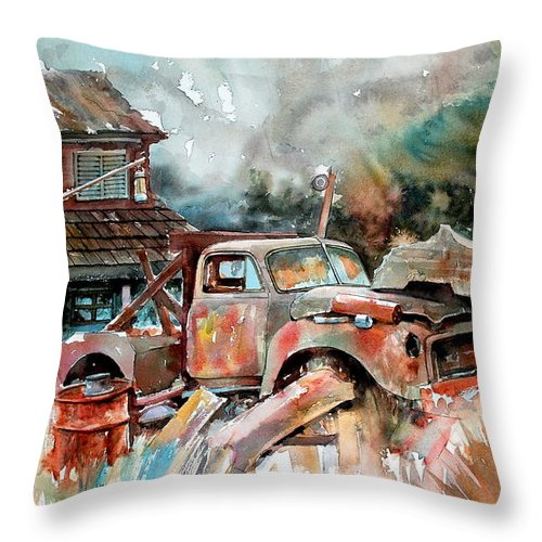 Truck Throw Pillow featuring the painting Shuttered And Cluttered And Gone by Ron Morrison