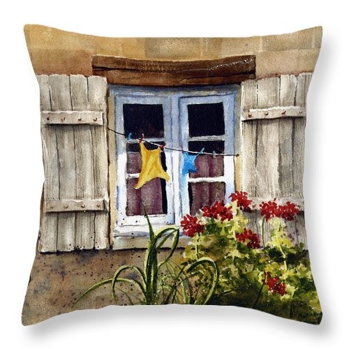 Window Throw Pillow featuring the painting Shutters by Sam Sidders