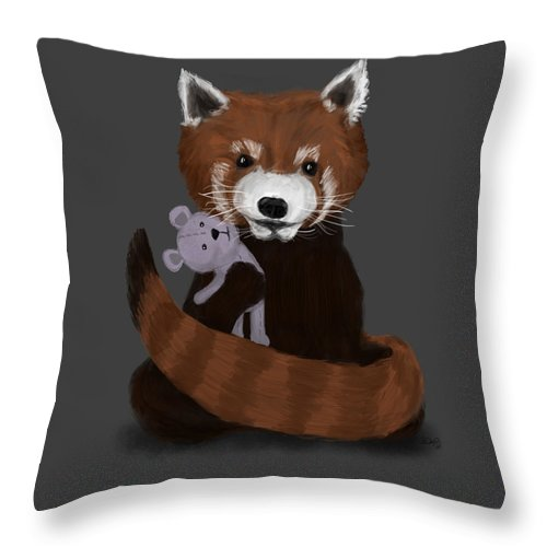 Red Panda Throw Pillow featuring the painting Shy Red Panda by Dan Pearce