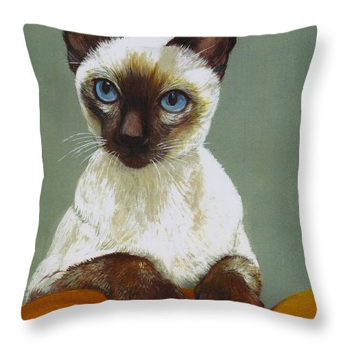 Siamese Throw Pillow featuring the painting Siamese Cat by Morgan Fitzsimons