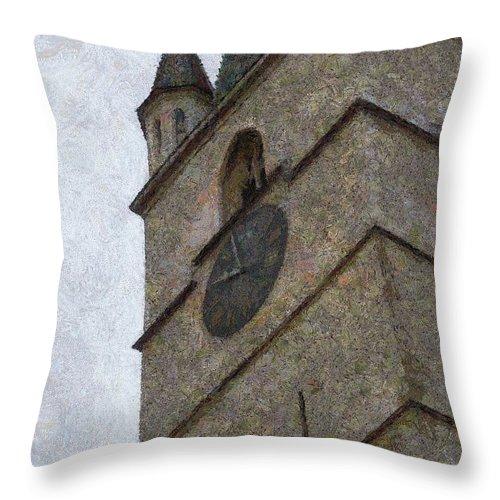 Sibiu Throw Pillow featuring the painting Sibiu Clock Tower by Jeffrey Kolker