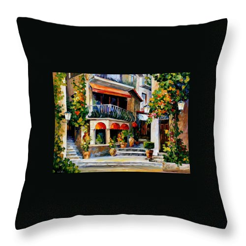Afremov Throw Pillow featuring the painting Sicily - Spring Morning by Leonid Afremov