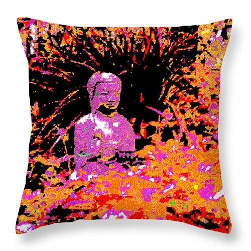 Square Throw Pillow featuring the digital art Siddhartha by Eikoni Images