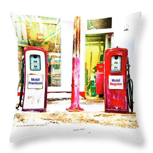 Gas Pumps Throw Pillow featuring the photograph Side By Side by Jeff Cooper