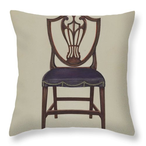 Throw Pillow featuring the drawing Side Chair (one Of Six) by Alfred Nason