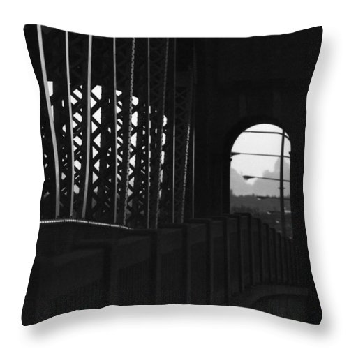 Black And White Throw Pillow featuring the photograph Side Of The Bridge by Lyle Crump