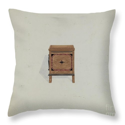 Throw Pillow featuring the drawing Side View Of Blanket Chest by Martin Partyka