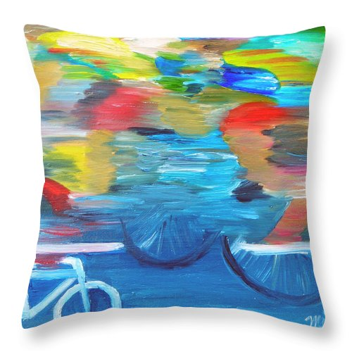 Cycling Throw Pillow featuring the painting Sideline View by Michael Lee